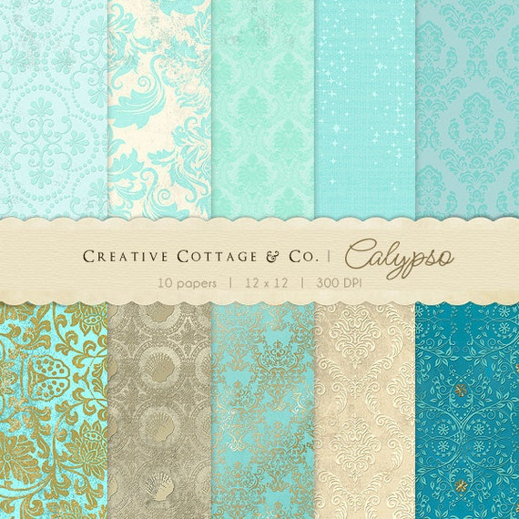 Calypso, Summer Teal and Gold Vintage Digital Papers for Blogging and Scrapbooking