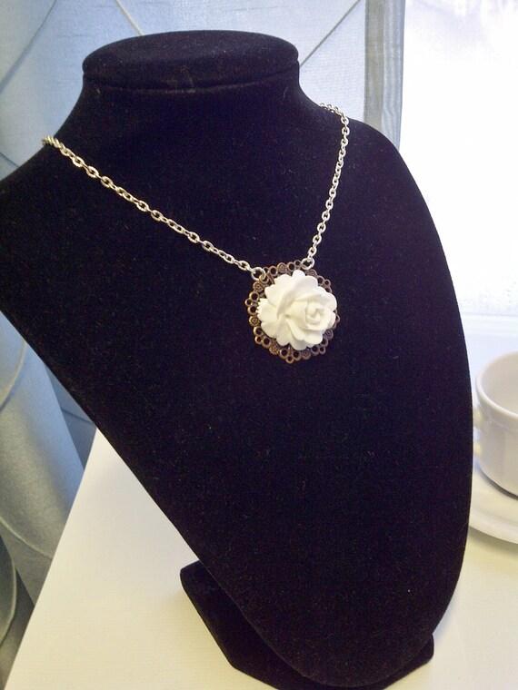 Shabby Chic Large White Flower Cabochon Necklace