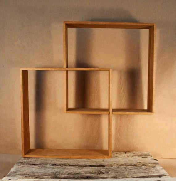 Mid Century Interlocking Squares Geometric Wall Shelf Set Of