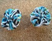 Blue and Black yo-yo earrings