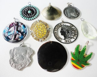 CLEARANCE assorted lot recycled and salvaged big chunky  pendants and charms 10 pcs lot  468