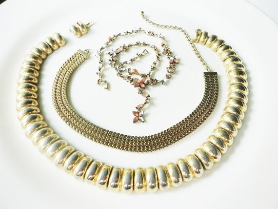 beautiful lot broken chunky golden and rhinestones necklace for repair  or assemblage altered art lot 77