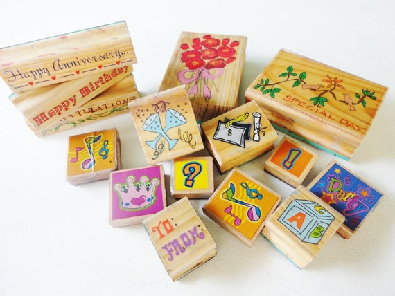 Destash lot used wood and rubber stamps lot of 15 Pcs happy birthday special day happy anniversary