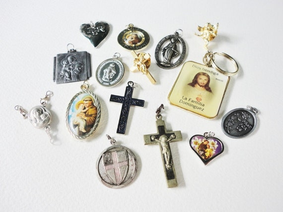 15 pcs assorted lot salvaged religious crosses pins charms medals and pendants lot  435