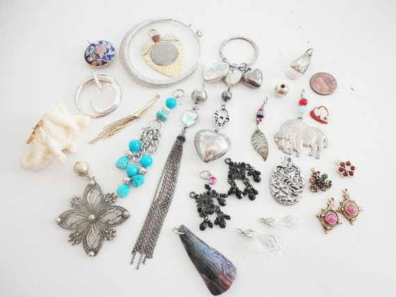 assorted recycled and salvaged jewelry pendants charms and dangles variety lot 25 pcs lot 580