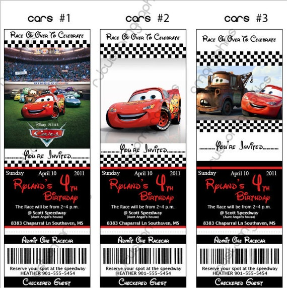 items similar to disney cars birthday ticket invitation digital, Birthday invitations