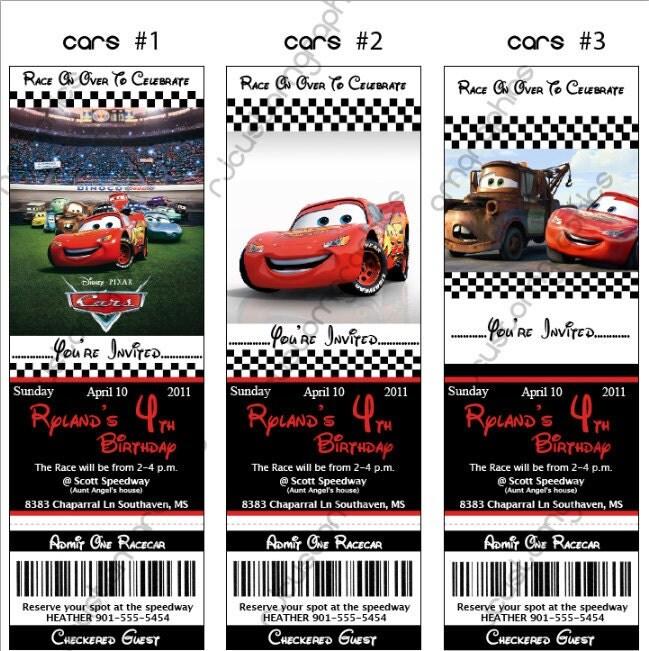 Disney Cars Birthday Ticket Invitation Digital By RJinkDesigns