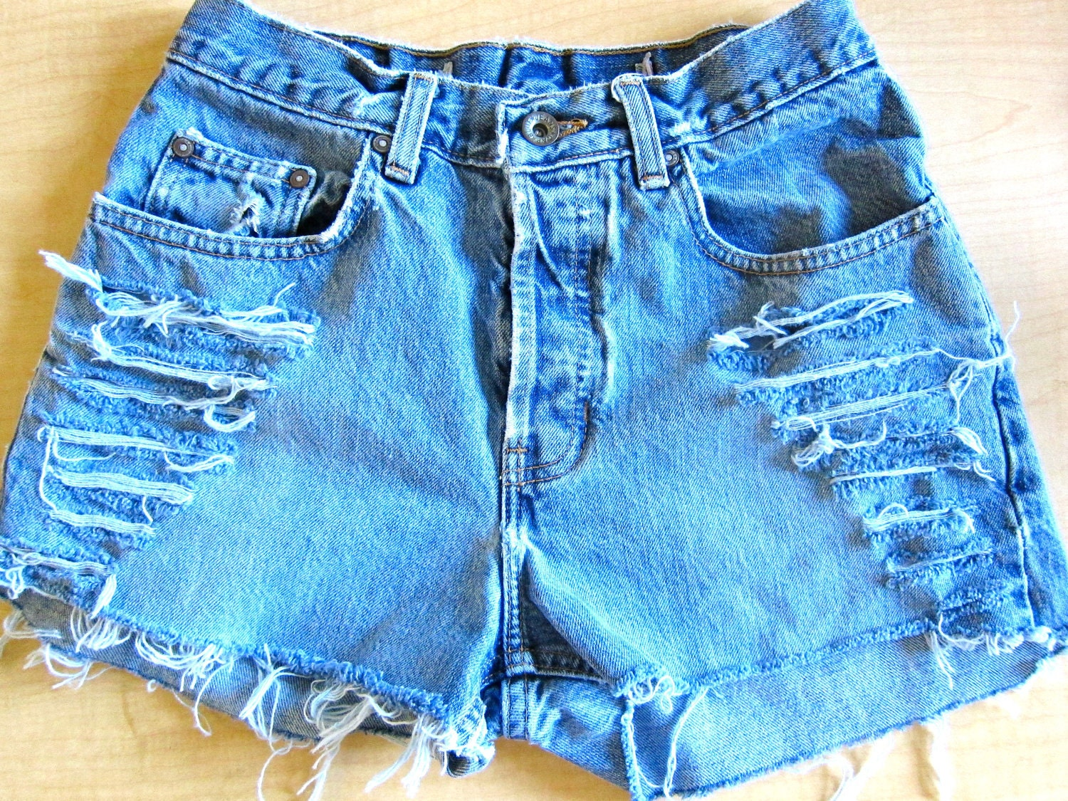 Ripped High Waisted Jean Shorts - Jeans Am