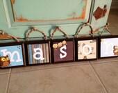 Retro Owl Theme Name Blocks Wood Letters for baby nursery, child's room, shower gift - Retro Owl Bedding