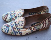 Vintage Multi-color ZALO Tapestry Slip On Shoes