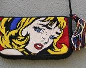 RESERVED for all4ever: Vintage Pop Art Roy Lichtenstein Inspired Embroidered Pochette