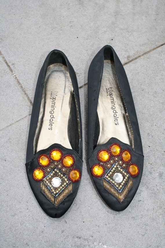 RESERVED until 5/11-Vintage Bloomingdale's Satin Slip-Ons with Embellished Toe Detail