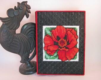 Photo Album with red poppy needllecraft using plastic canvas SALE