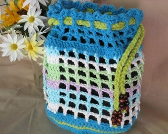 Tote Bag  turquoise  and variegated colors Beach bag Crochet