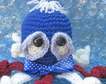 SALE Octopus in red white and  blue Small  Crochet and stuffed