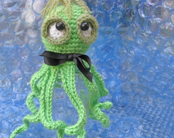 SALE  Octopus in bright green  Small  Crochet and stuffed