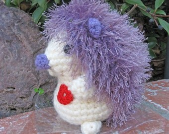 Li'l Miss Hedgehog in Lavender and Cream with red heart stuffed animal Crochet and stuffed SALE