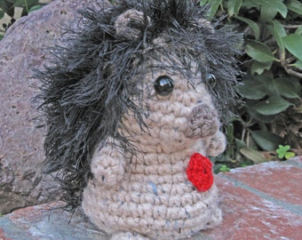 SALE  Li'l Miss Hedgehog  in wheat & black with red heart Crochet and stuffed