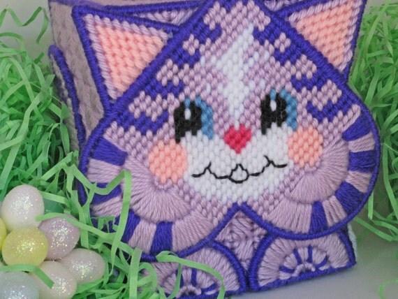 SALE - Kitten Tissue Box Cover - child's gift  - lavender & purple - plastic canvas