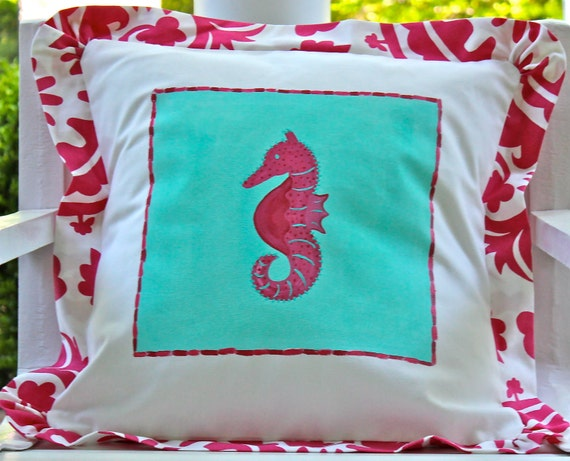 SALE Sea Horse Beach Pillow Cover Pink and Turquoise