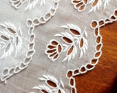 White Cutwork Embroidered Floral Motif Cotton 4 1/2 inches wide
