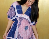 One Off Navy and Pink Flower Print Tunic with Elasticated Waist