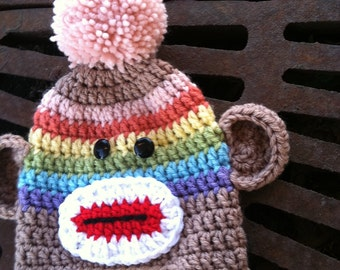 Infant Sock Monkey in Rainbow Colors