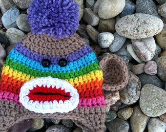 Sock Monkey Hat in Rainbow and Lavender