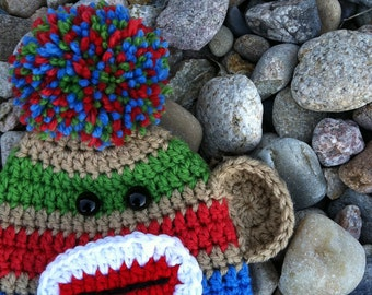 Infant Sock Monkey Hat for Boy