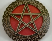We all come the Goddess- Pentagram Wall plaque in Red