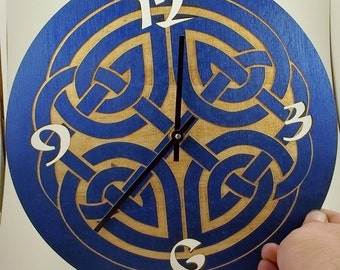 Blue wall clock with Celtic Knot Design