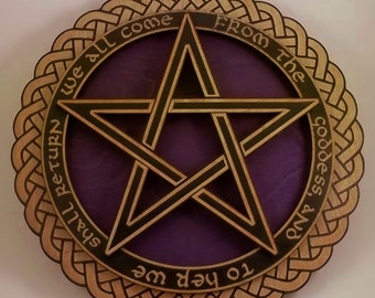 A 'We All Come from the Goddess...' Pentagram Wall Plaque