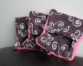 Wash Pads - Baby bath, hand pads, 3pack, pink & brown damask