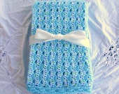 """AQUA BABY AFGHAN - Large Hand Crocheted """"Tranquil Dreams"""" Baby Blanket"""