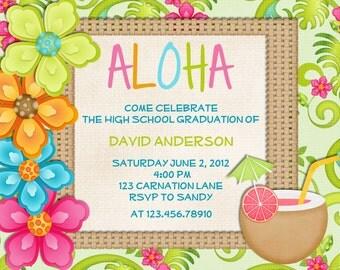 Luau Birthday Invitation Sweet 16 Tropical Hawaiian Hula Party - Printable Custom Invite