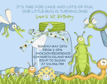 Bug Birthday Invitation - Boy Birthday Invitation Bug Party Printable Invitation Bug Invite