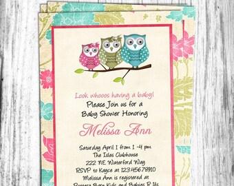 Shabby Owl Girl Baby Shower Invitation Printable Custom Invite