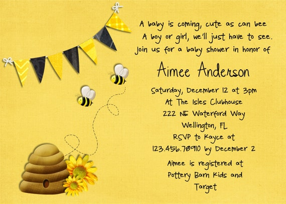 items similar to honey bee baby shower invitation printable and, Baby shower invitations