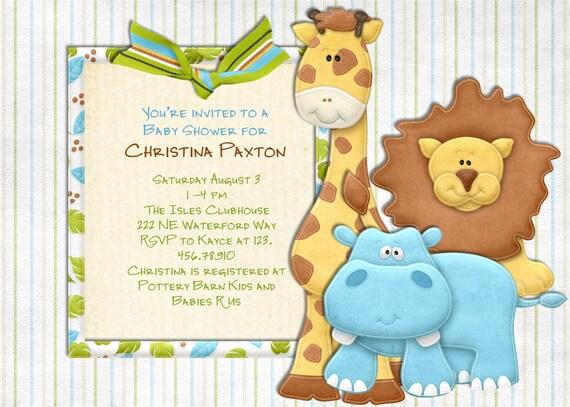Jungle Baby Shower - Jungle Invitation - Safari Baby Shower Invite - Jungle Shower Invitation - Printable Safari Invitation