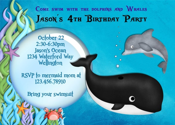 Whale and Dolphin Birthday Party Invitation Under the Sea Pool Party Printed or Digital Invite