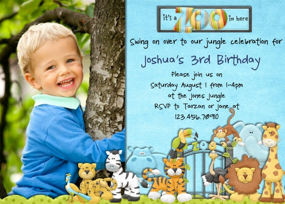 Items similar to Jungle and Zoo Birthday Invitation Safari Animals – Jungle Theme Birthday Invitations