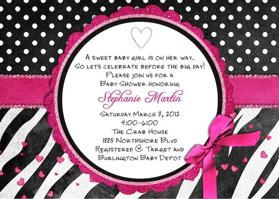 zebra baby shower invitations | wblqual, Birthday invitations
