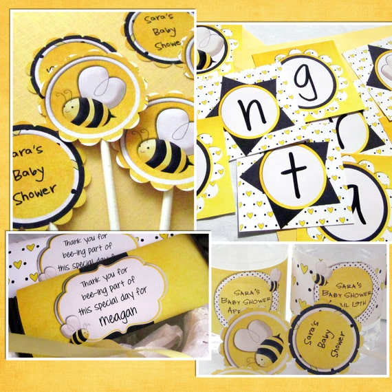 Items similar to Bee Baby Shower Package - Printable Bumble Bee Theme ...