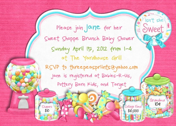 Candy Sweet Shoppe Baby Shower Invitation - Sweet 16 Birthday Printable Choose Your Color