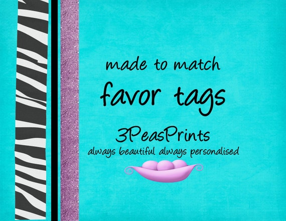 Coordinating Favor Tags to Match any Invitation in My Shop Printable Custom