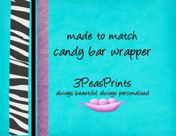 Coordinating Candy Bar Wrapper to Match any Invitation in My Shop Printable Custom