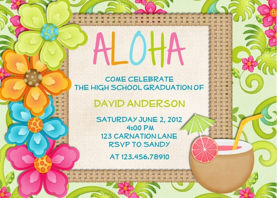 Luau Birthday Invitation Sweet 16 Tropical Hawaiian Hula Party - Printable Custom Invite