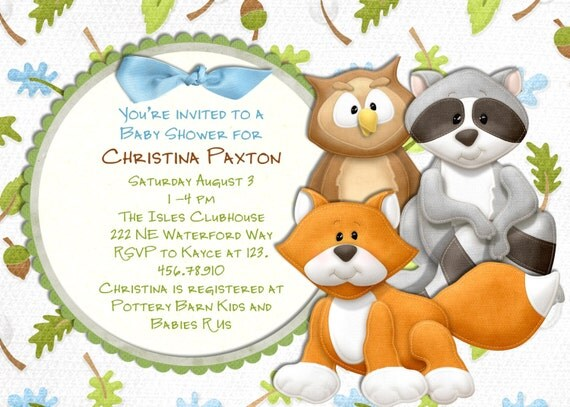 items similar to woodland animals baby shower invitation fox and owl
