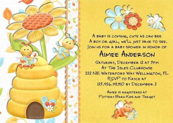 Printable Shower Custom Invite 2000 Bee Baby Invitation