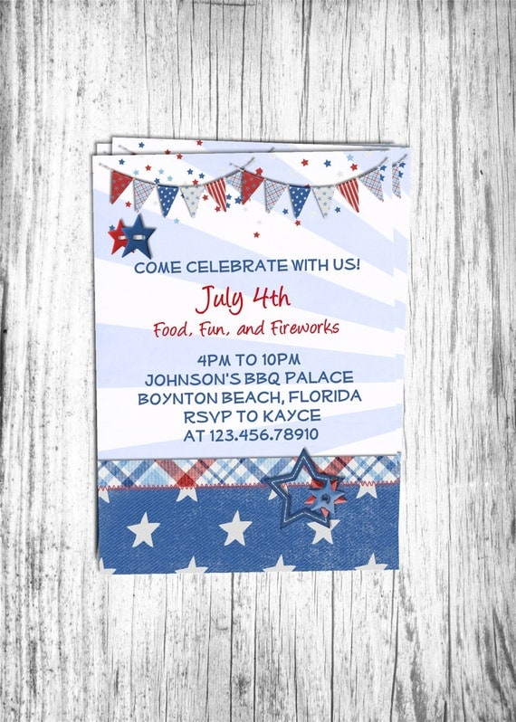Red White and Blue July 4th Invitation Printable and Custom